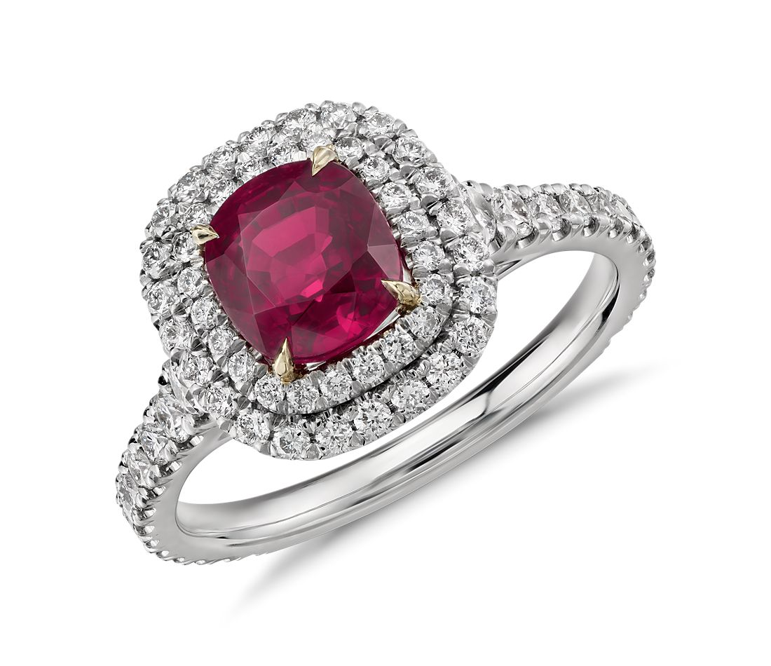 Cushion Ruby and Diamond Double Halo Ring in Platinum