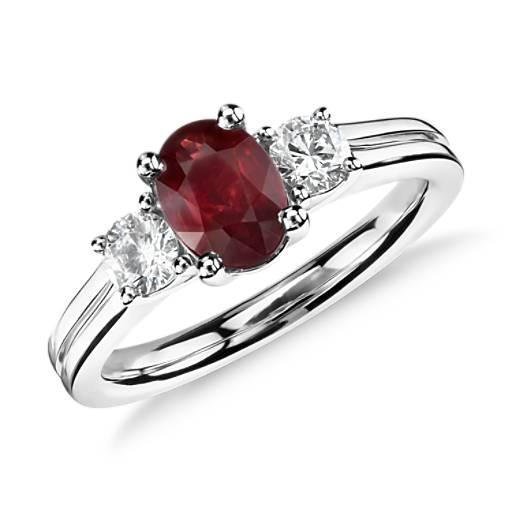 NOUVEAU Bague diamant et rubis en or blanc 18carats (7x5mm)
