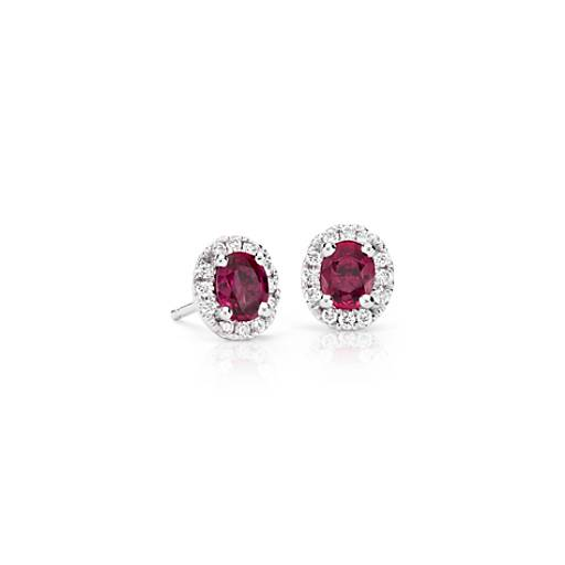 Ruby and Diamond Halo Stud Earrings in 18k White Gold (5x4mm)