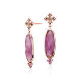 Frances Gadbois Elongated Ruby and Pink Sapphire Earrings in 18k Rose Gold (18x6mm)