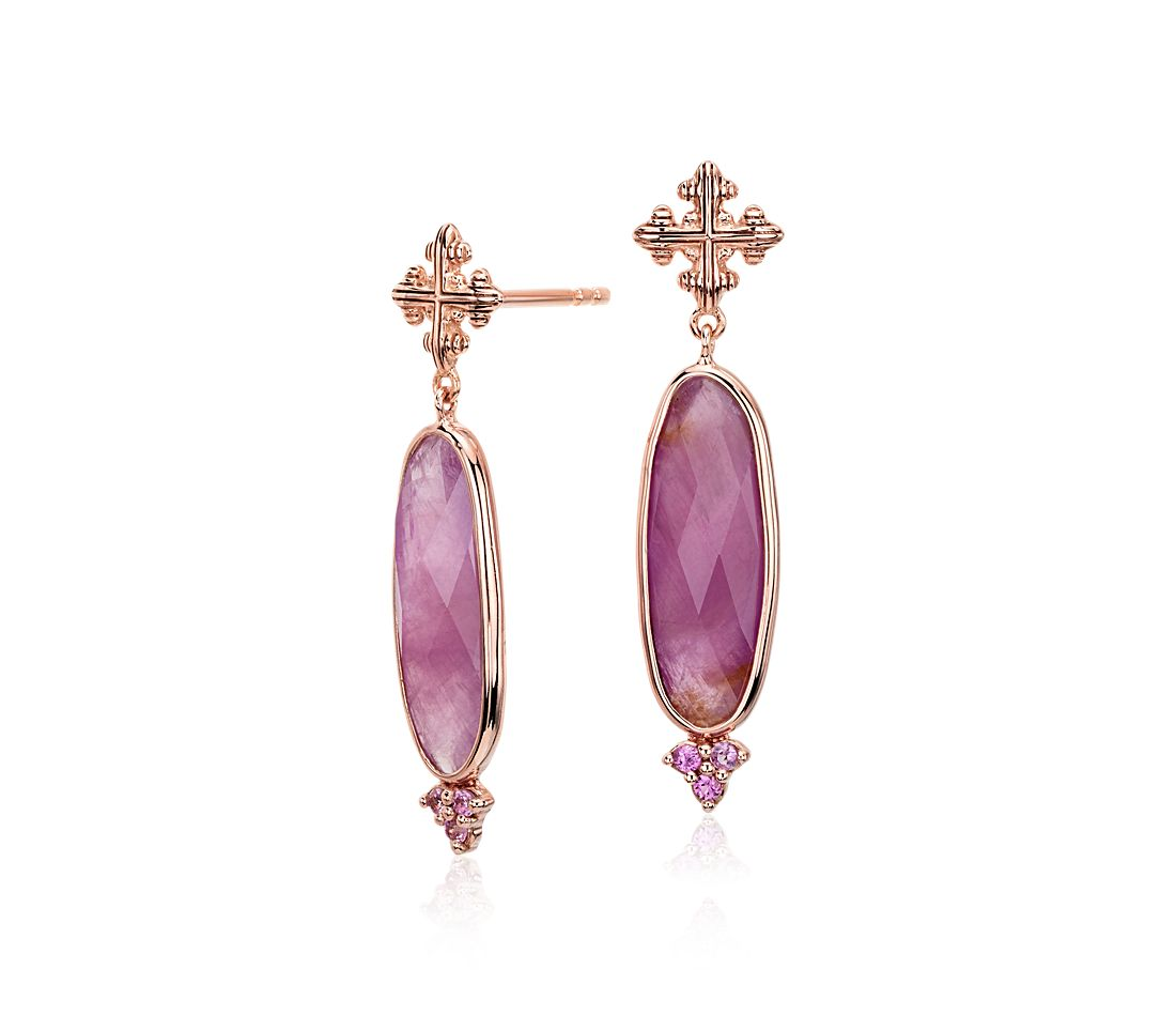 Pink Ruby Jewellery: Frances Gadbois Elongated Ruby And Pink Sapphire Earrings
