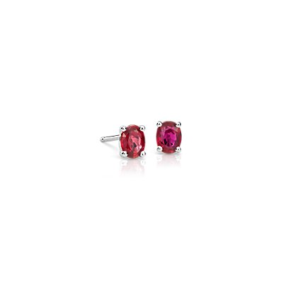 Ruby Stud Earrings in 14k White Gold (5x4mm)