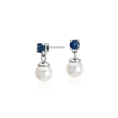 Akoya Cultured Pearl and Sapphire Drop Earrings in 18k White Gold