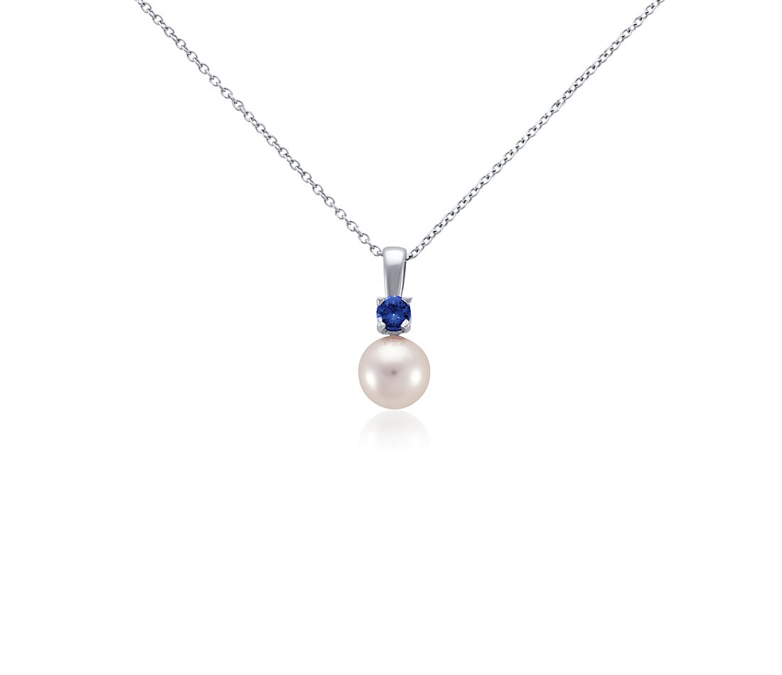 Akoya Cultured Pearl and Sapphire Pendant in 18k White Gold