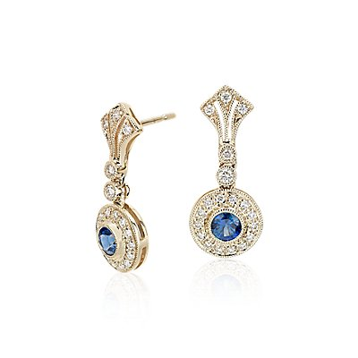 NEW Sapphire and Diamond Vintage-Inspired Earrings in 14k Yellow Gold (3.5mm)