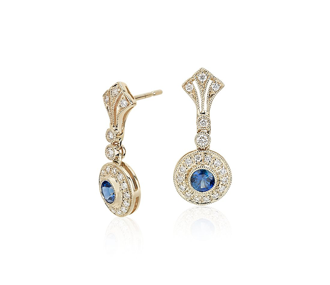 sapphire and vintage inspired earrings in 14k