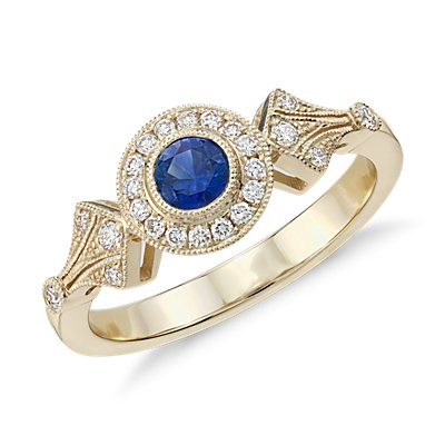NEW Sapphire and Diamond Vintage-Inspired Ring in 14k Yellow Gold (4mm)