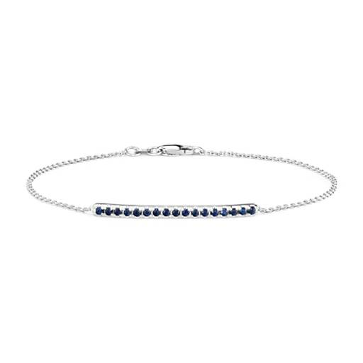 NEW Sapphire Pavé Bar Bracelet in 14k White Gold (1.5mm)