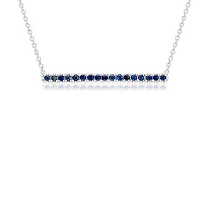 Sapphire Pavé Bar Necklace in 14k White Gold (1.5mm)