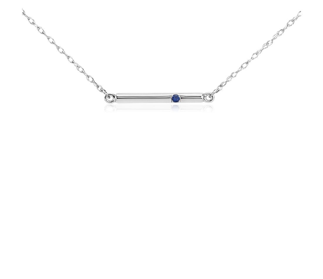 Sapphire Bar Necklace in 14k White Gold