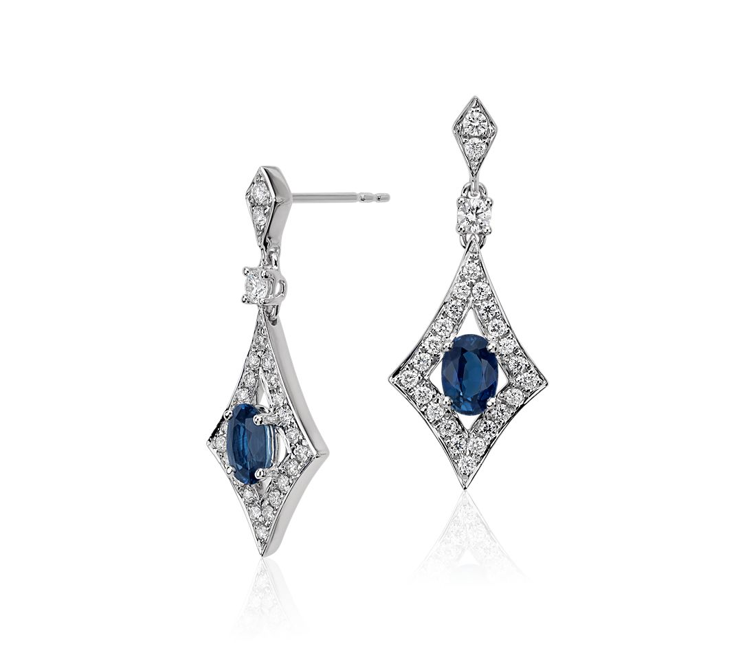 Sapphire and Diamond Drop Earrings in 18k White Gold