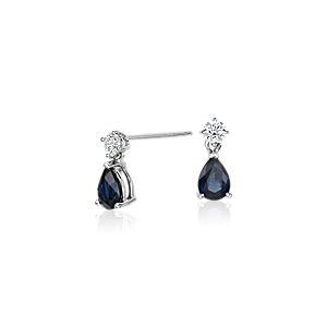 梨形藍寶石鑽石 18k 白金吊式耳環( 6x4毫米)