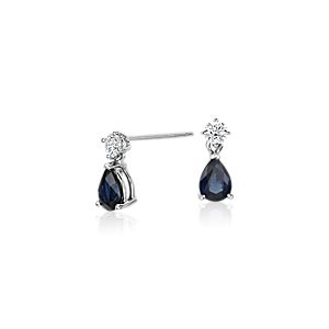 Pear-Shaped Sapphire and Diamond Drop Earrings in 18k White Gold (6x4mm)
