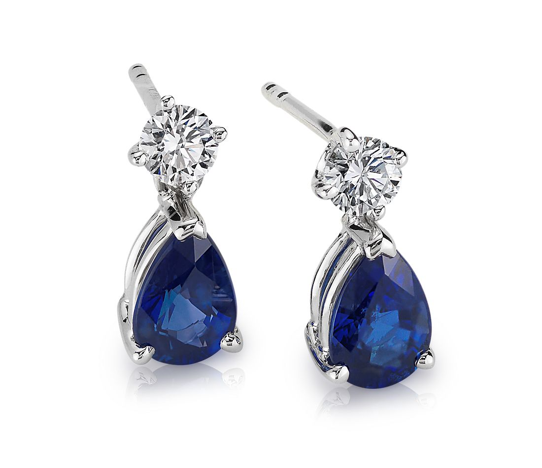 Pear Shaped Sapphire and Diamond Drop Earrings in 18k White Gold 6x4mm