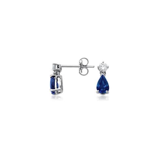 Pendants d'oreilles diamant et saphir bleu taille poire en or blanc 18carats (6x4mm)