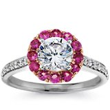 Halo Pink Sapphire and Diamond Engagement Ring in 18k White Gold