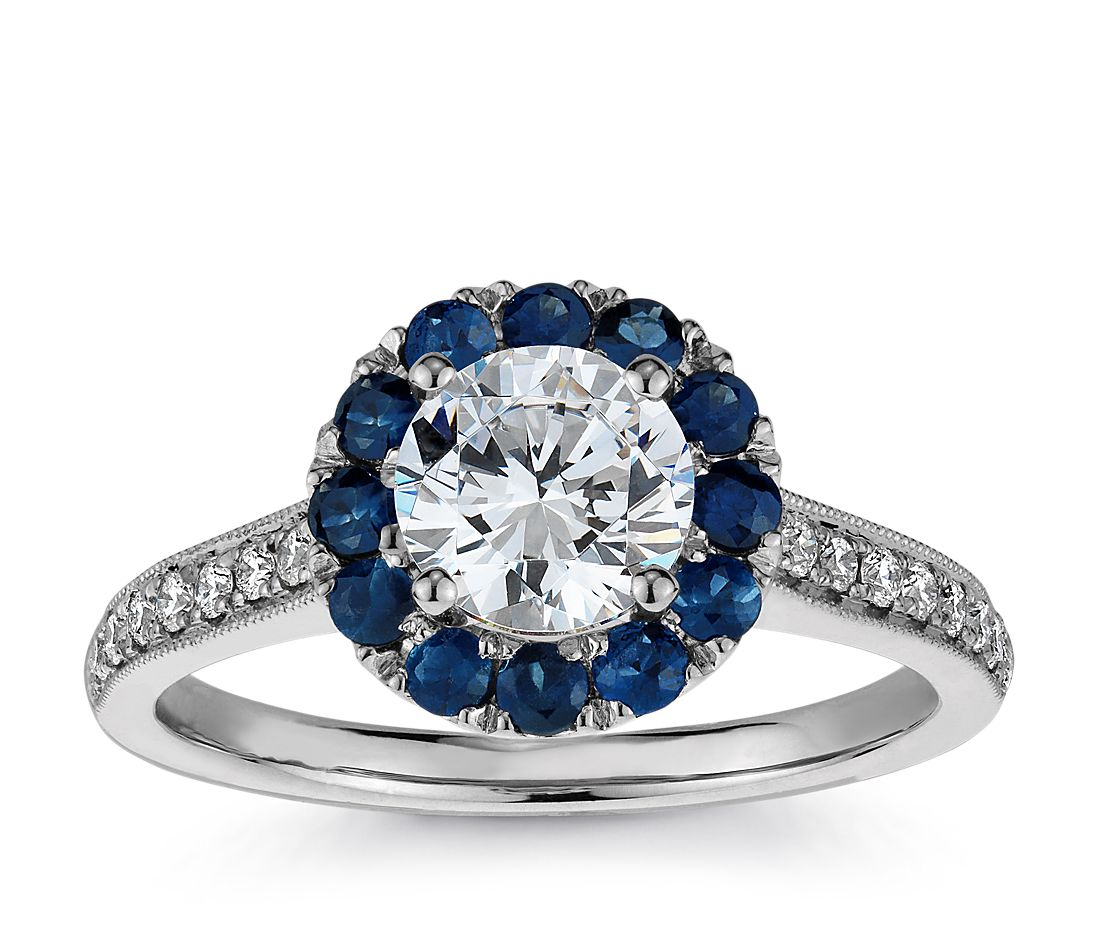 halo sapphire and diamond engagement ring in 18k white. Black Bedroom Furniture Sets. Home Design Ideas