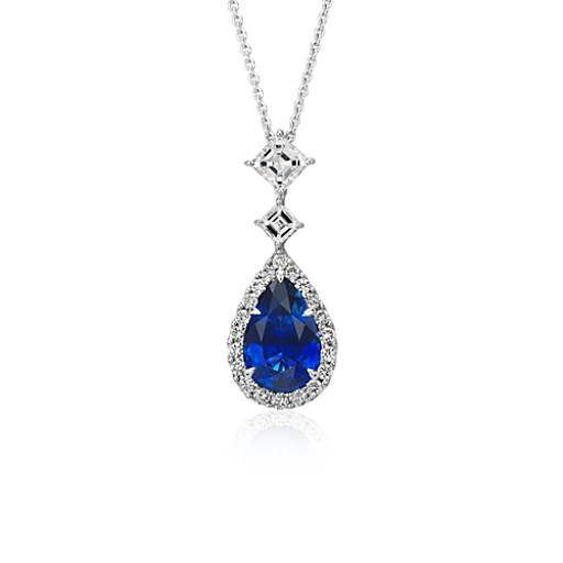 Sapphire and Diamond Halo Drop Pendant in 18k White Gold (3.55 cts)