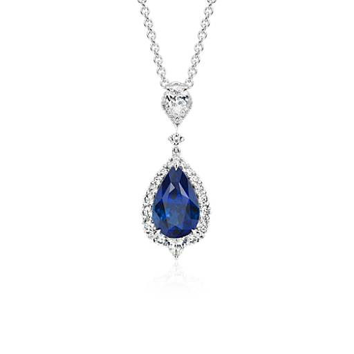 NEW Pear Sapphire and Diamond Halo Drop Pendant in 18k White Gold (4.68 ct. center)