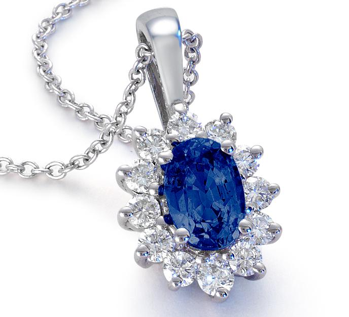 藍寶石鑽石 18k 白金吊墜( 6x4毫米)