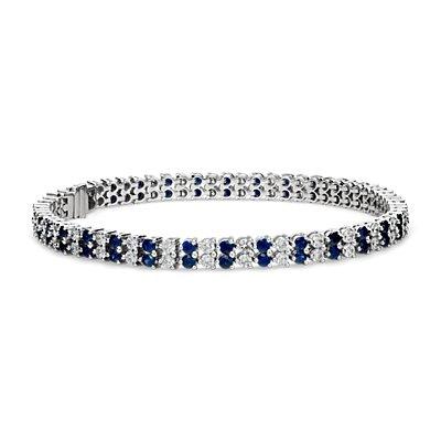 Bracelet double range diamant et saphir en or blanc 14carats (2x2,4mm)