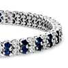 Sapphire and Diamond Double Row Bracelet in 14k White Gold