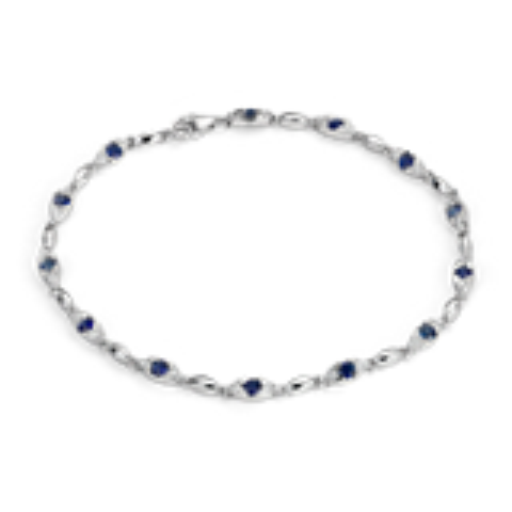 Sapphire and Diamond Bracelet in 14k White Gold (2-2.4mm)
