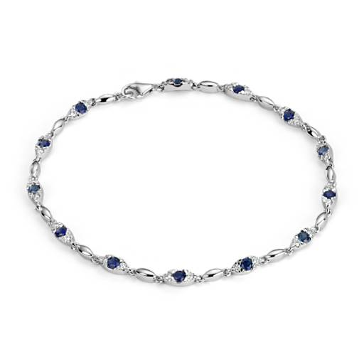 Sapphire and Diamond Bracelet in 14k White Gold