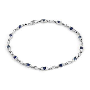 Sapphire and Diamond Bracelet in 14k White Gold (2-2.4mm)