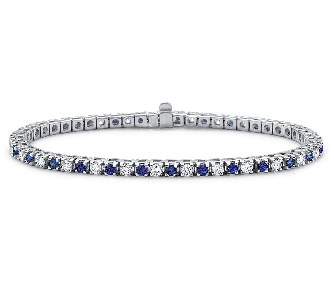 Brazalete de diamante y zafiro en oro blanco de 18k (1 1/2 qt. total)