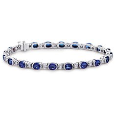 Oval Sapphire and Diamond Semi-Bezel-Set Bracelet (5x4mm)