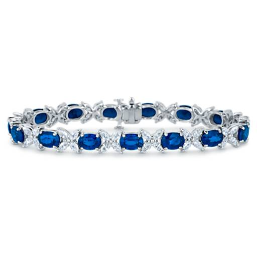 Sapphire and Marquise Diamond Bracelet in 18k White Gold (6x5mm)