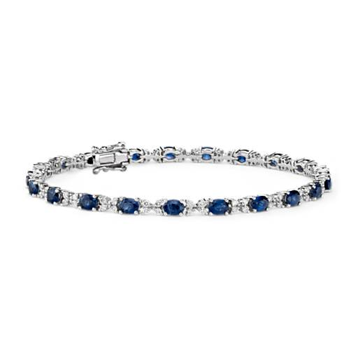 Sapphire and Diamond Bracelet in 14k White Gold (4x3mm)