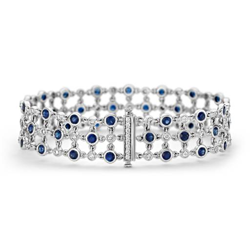 Brazalete triple de diamante y zafiro con motivo floral Something Blue de Studio de Blue Nile en oro blanco de 18 k (2.7mm)