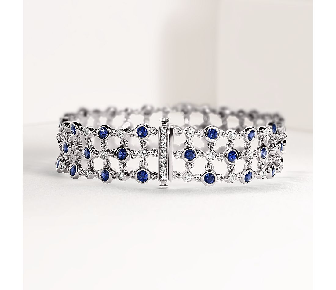 Blue Nile Studio Something Blue, Sapphire & Diamond Floral Triple Line Bracelet in 18k White Gold