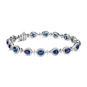 NEW Sapphire and Diamond Halo Bracelet in 18k White Gold