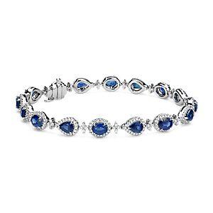NOUVEAU Bracelet halo en diamants et saphirs en or blanc 18carats