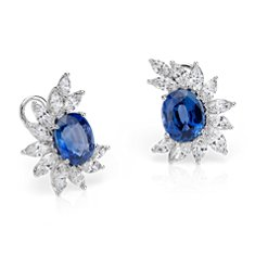 Sapphire and Diamond Cluster Earrings in 18k White Gold