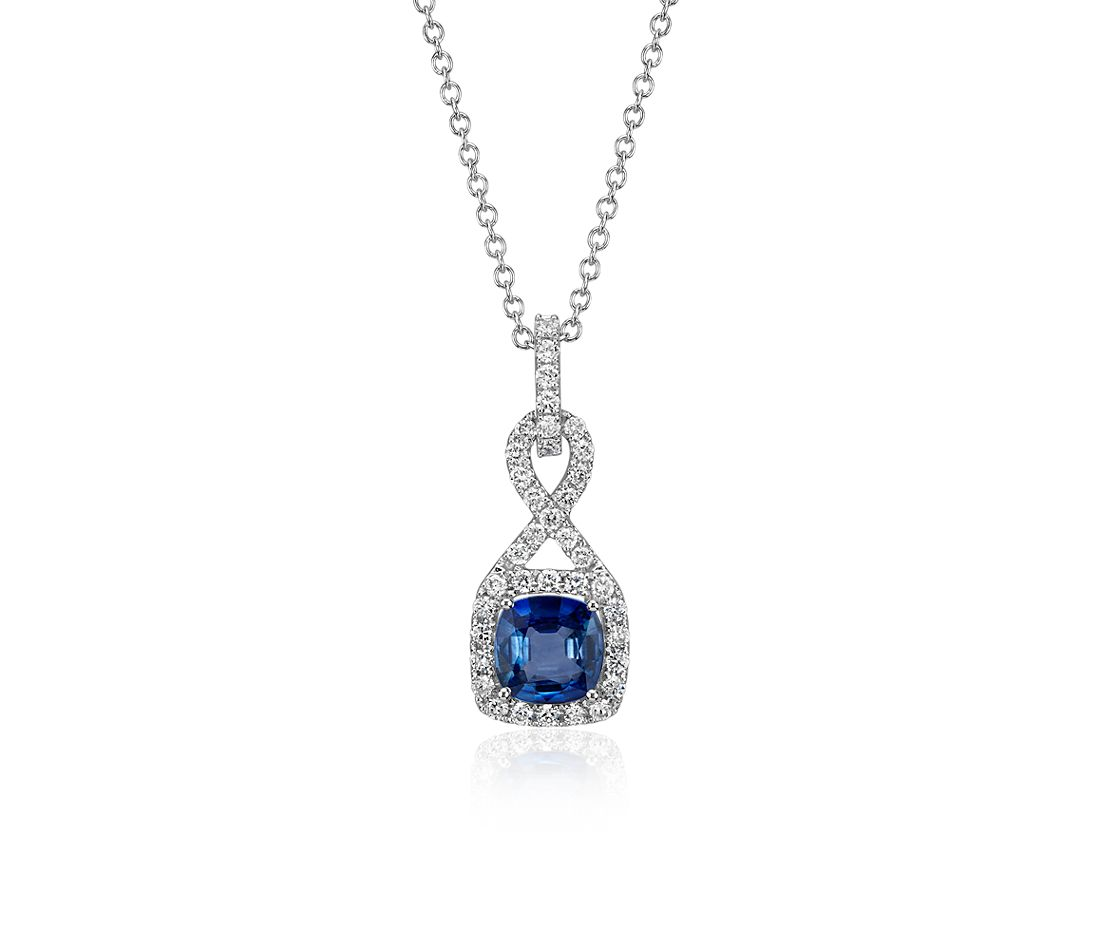Sapphire and Diamond Cushion Cut Twisted Pave Pendant in 18k White Gold (6mm)