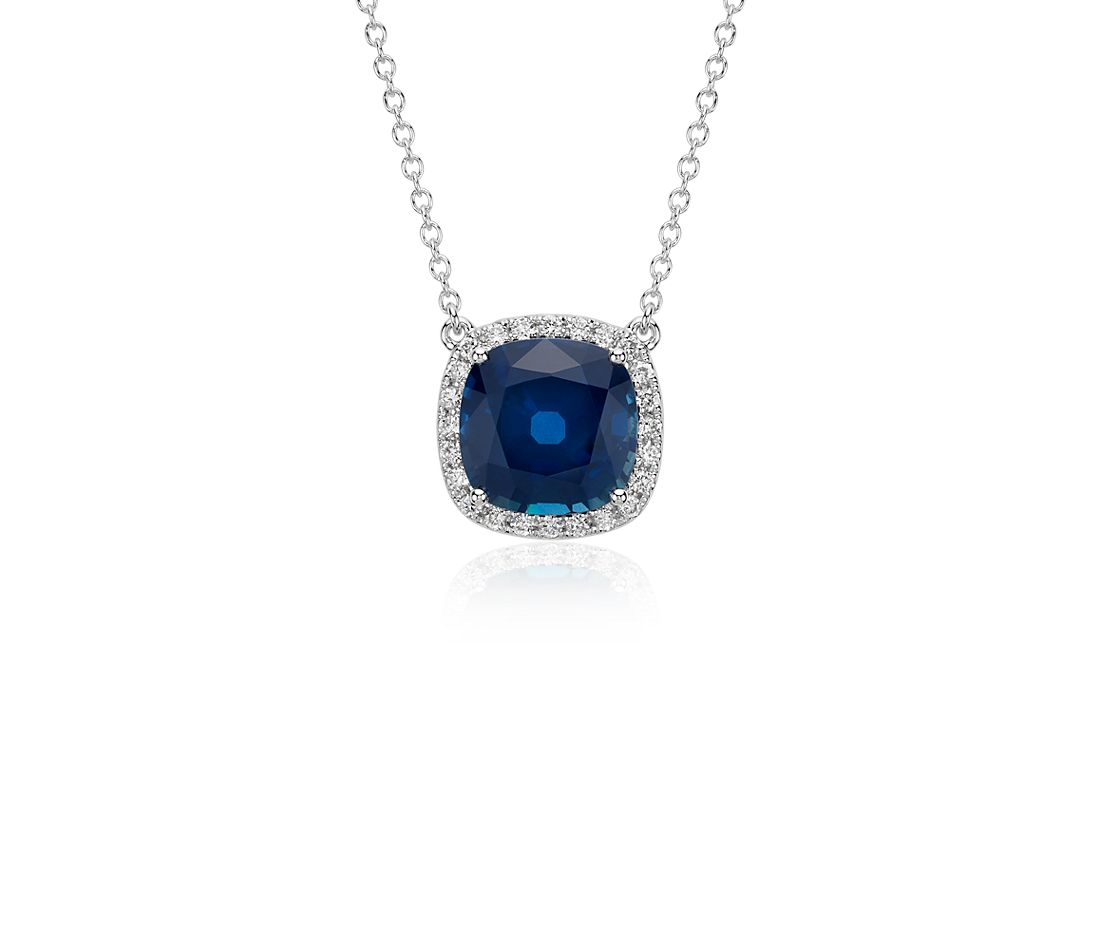Cushion Sapphire and Diamond Halo Floating Pendant in 18k White Gold (4 cts)