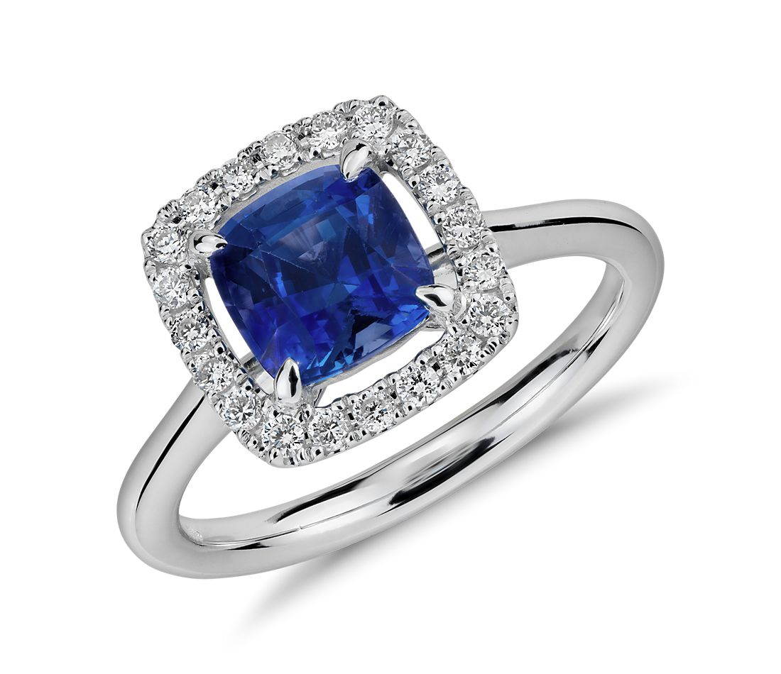 Floating Sapphire and Diamond Cushion-Cut Halo Ring in 14k White Gold (6mm)