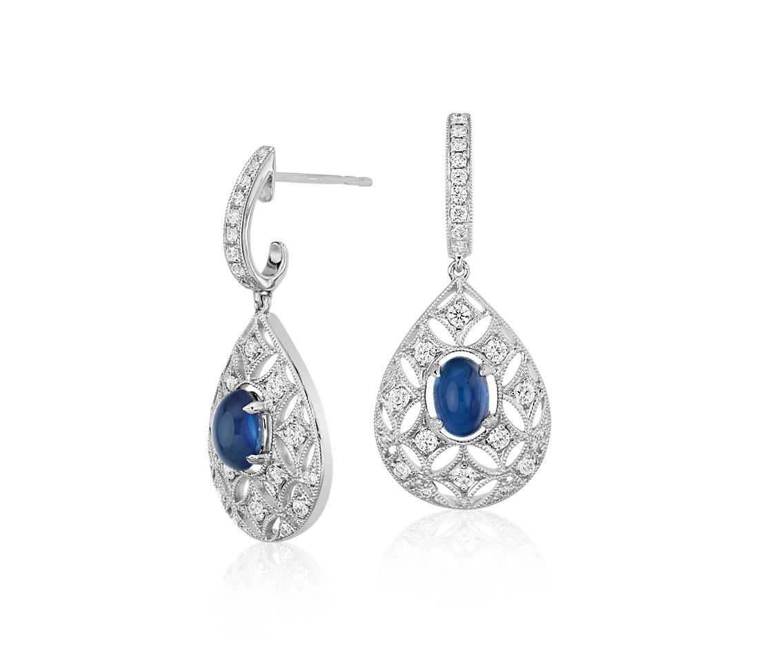 Sapphire Cabochon and Diamond Dangle Earrings in 18k White Gold