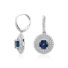 Sapphire and Diamond Double Halo Dangle Earrings in 18k White Gold
