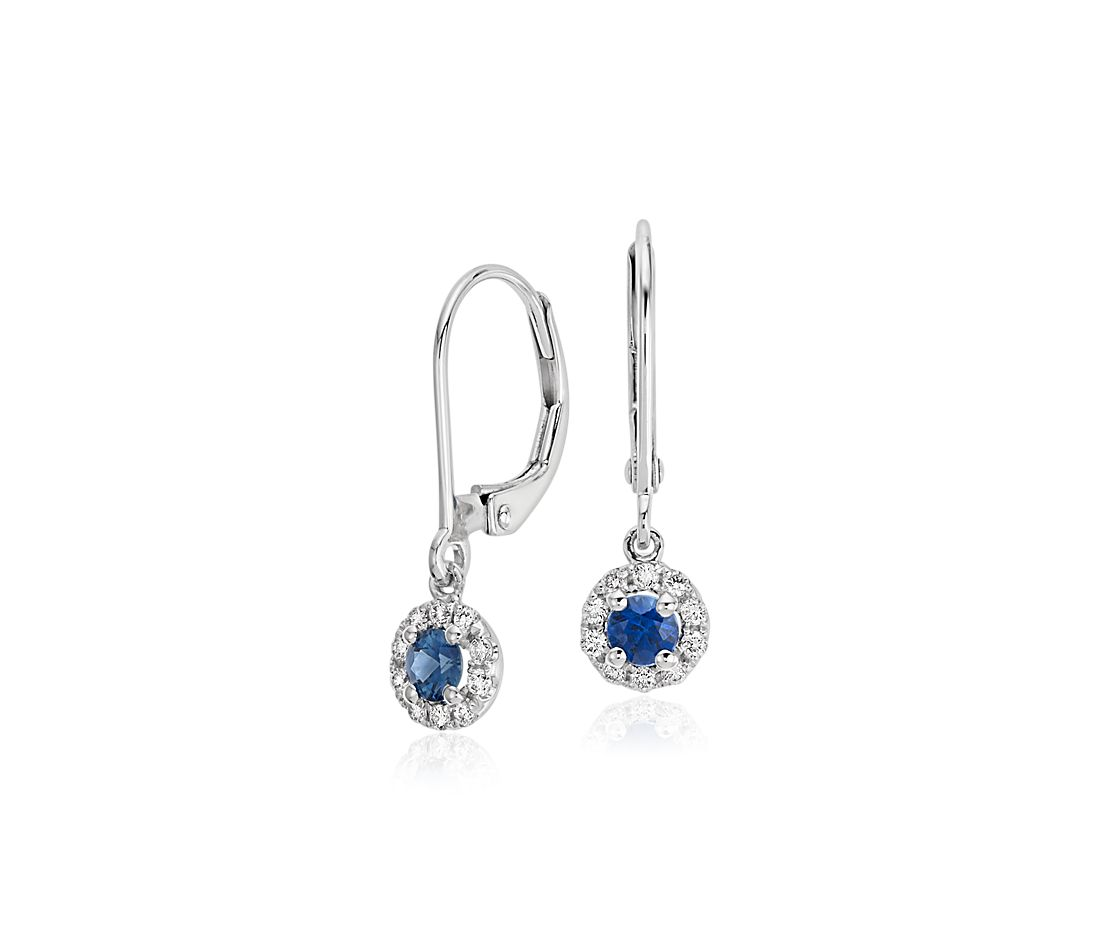 sapphire and diamond drop earrings in 14k white gold 3mm