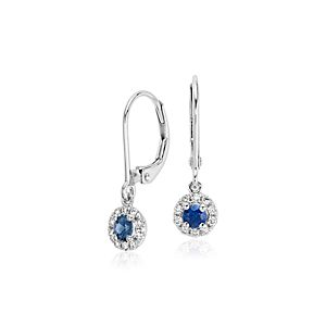 Sapphire and Diamond Drop Earrings in 14k White Gold (3mm)