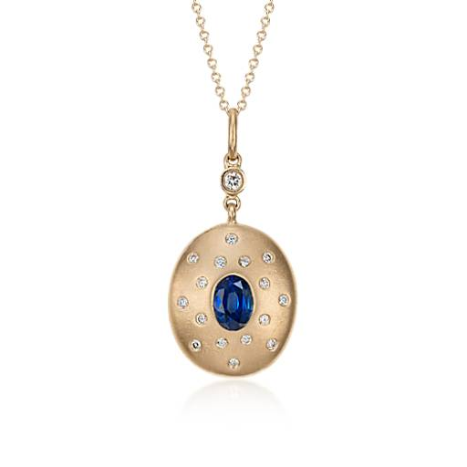 Sapphire and Diamond Pendant in brushed 18k Yellow Gold