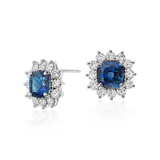 Cushion Cut Sapphire and Diamond Earrings in 18k White Gold (4.28 ct. tw.)