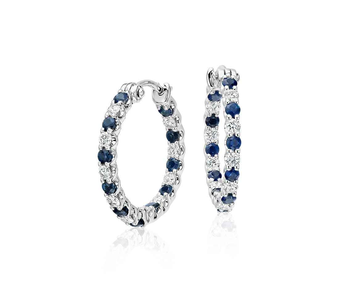 Sapphire and Diamond Hoop Earrings in 18k White Gold (2mm)