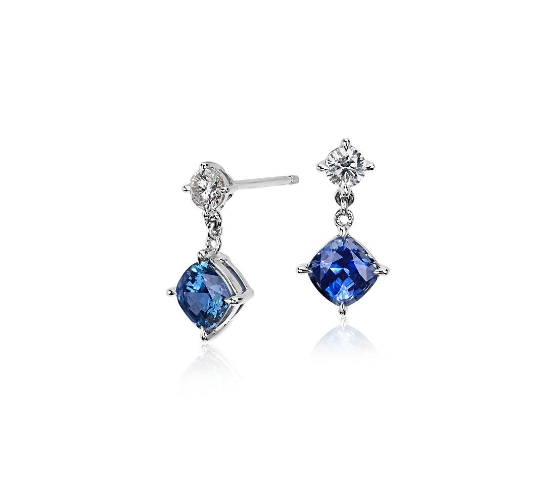 Cushion Sapphire and Diamond Drop Earrings in 14k White Gold