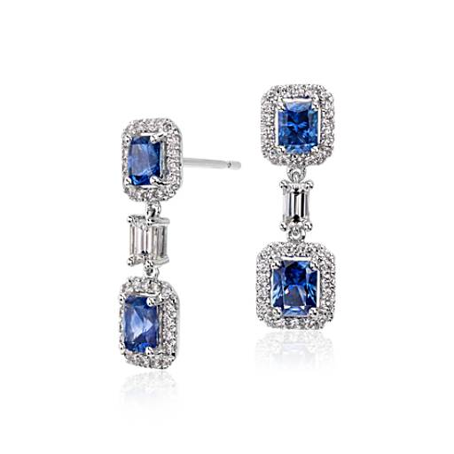 Sapphire and Diamond Halo Earrings in 14k White Gold